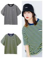 X-girl STRIPED H/S TEE