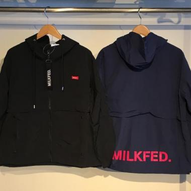 MILKFED. BACK LOGO HOODED ZIP UP BLOUSON