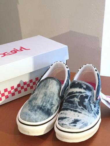 X-girl×VANS BLEACH DENIM SLIP-ON