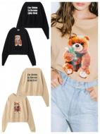 X-GIRL X YURINO TEDDY BEAR CREW SWEAT TOP