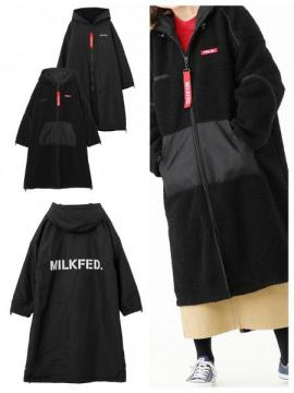MILKFED. REVERSIBLE HOODED BOA LONG COAT