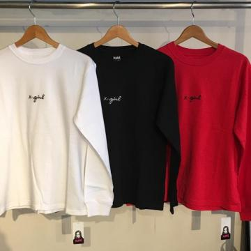 X-girl EMBROIDERY CURSIVE LOGO L/S REGULAR TEE
