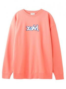 X-girl PATCHED MILLS LOGO CREW SWEAT TOP